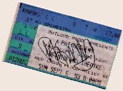 My autographed ticket stub from 9-5-93 concert